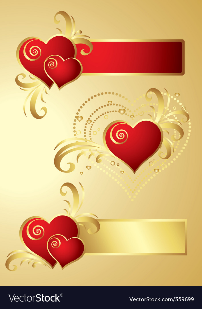 Heart banners vector | Price: 1 Credit (USD $1)