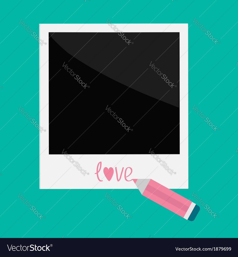 Instant photo and pencil in flat design style love vector | Price: 1 Credit (USD $1)