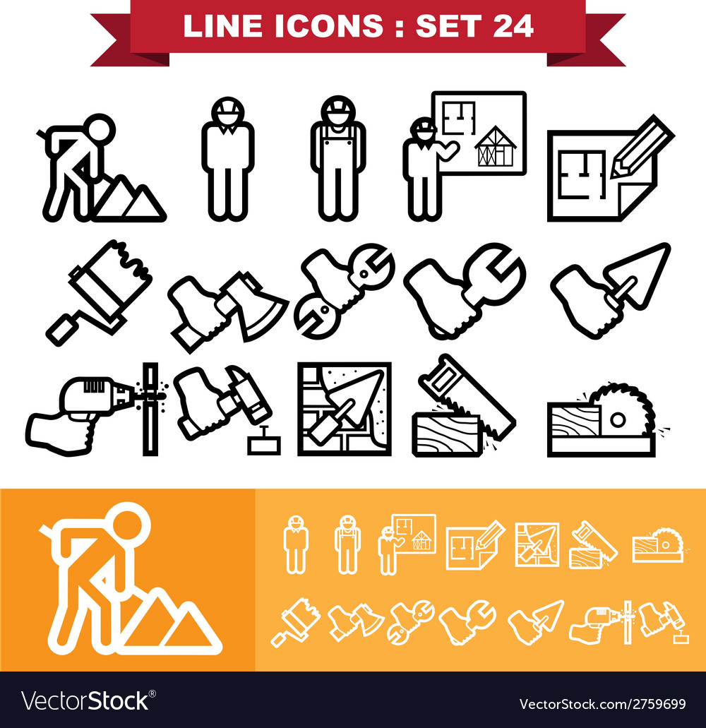 Line icons set 24 vector | Price: 1 Credit (USD $1)