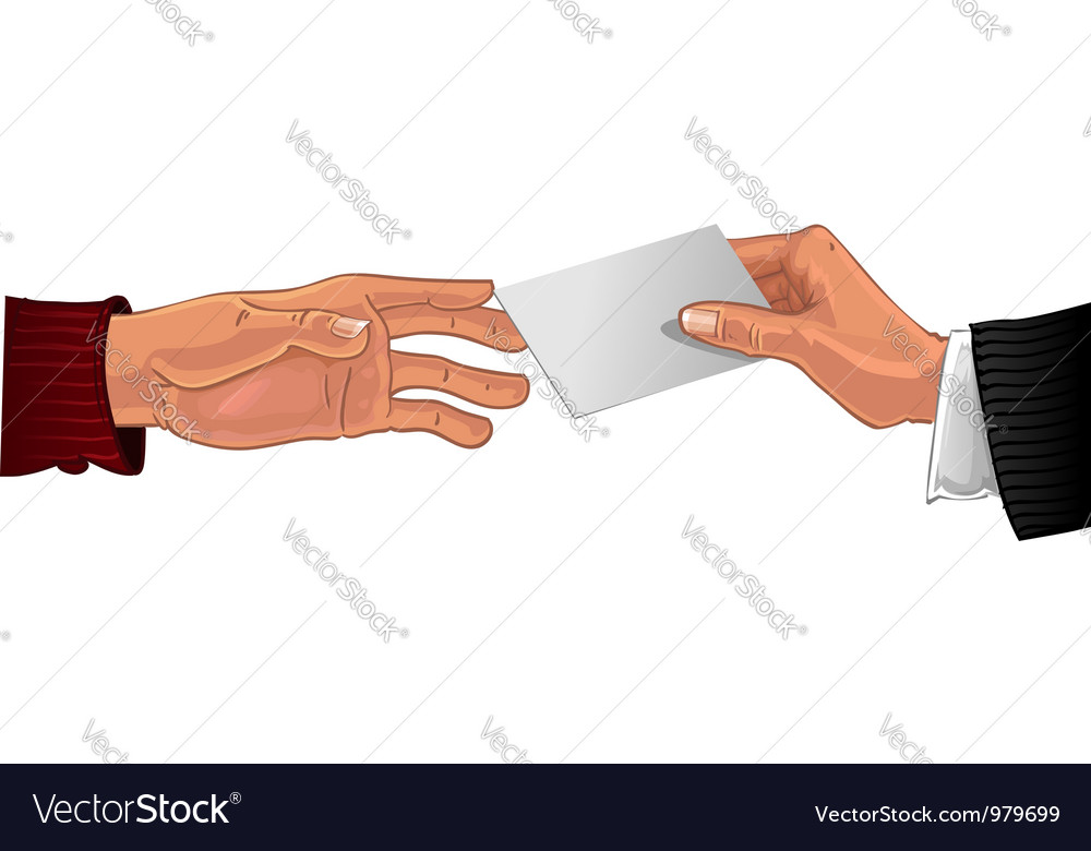 Male hand pass white business card to other male vector   Price: 1 Credit (USD $1)