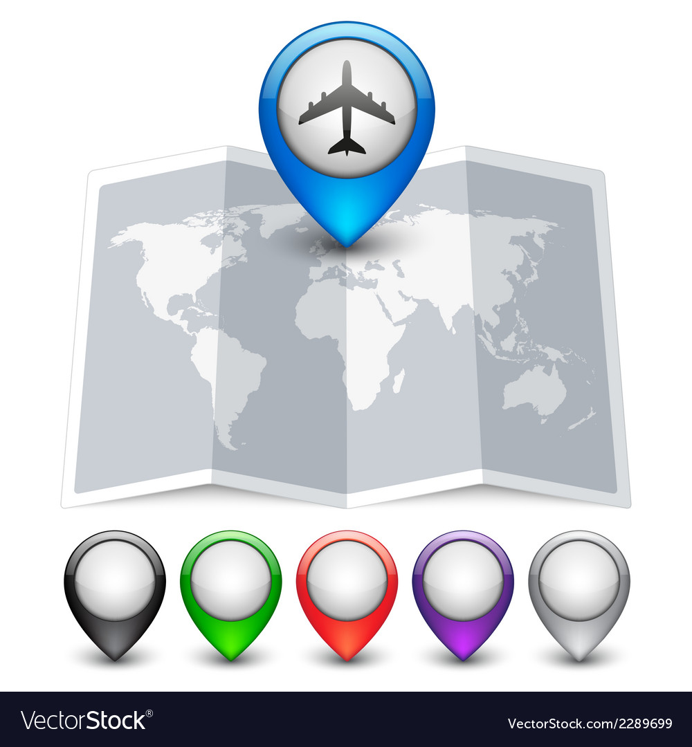 Map icon with multicolored pin pointers vector | Price: 1 Credit (USD $1)