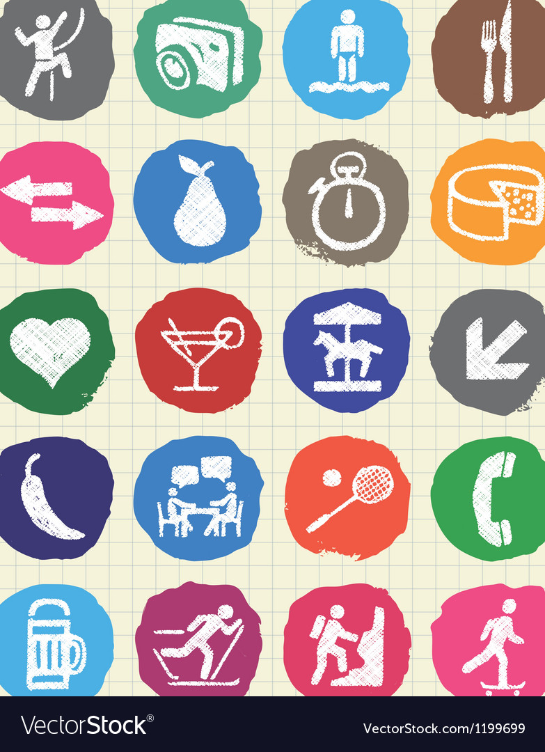 Rest food and hobby icons set drawn by chalk vector | Price: 1 Credit (USD $1)