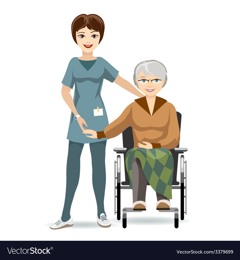 Senior woman on wheelchair and nurse vector | Price: 1 Credit (USD $1)