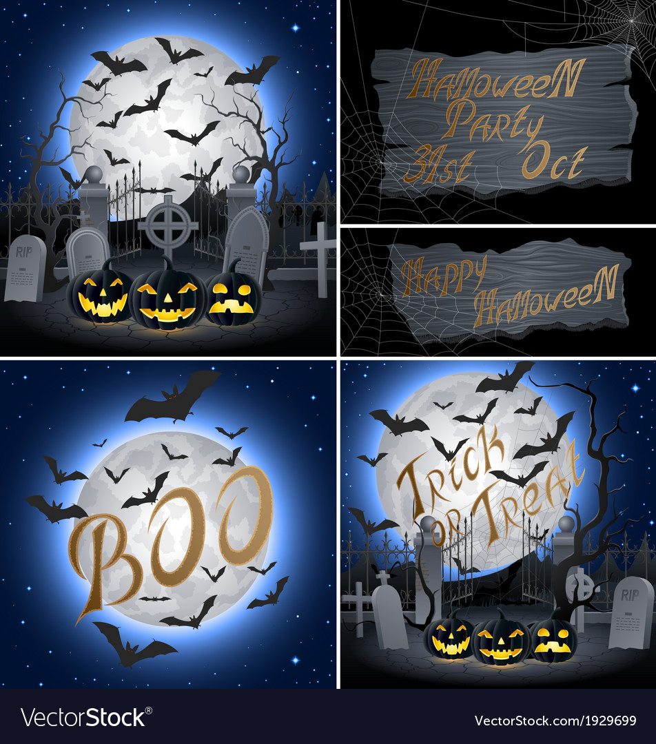 Set of halloween backgrounds vector | Price: 1 Credit (USD $1)