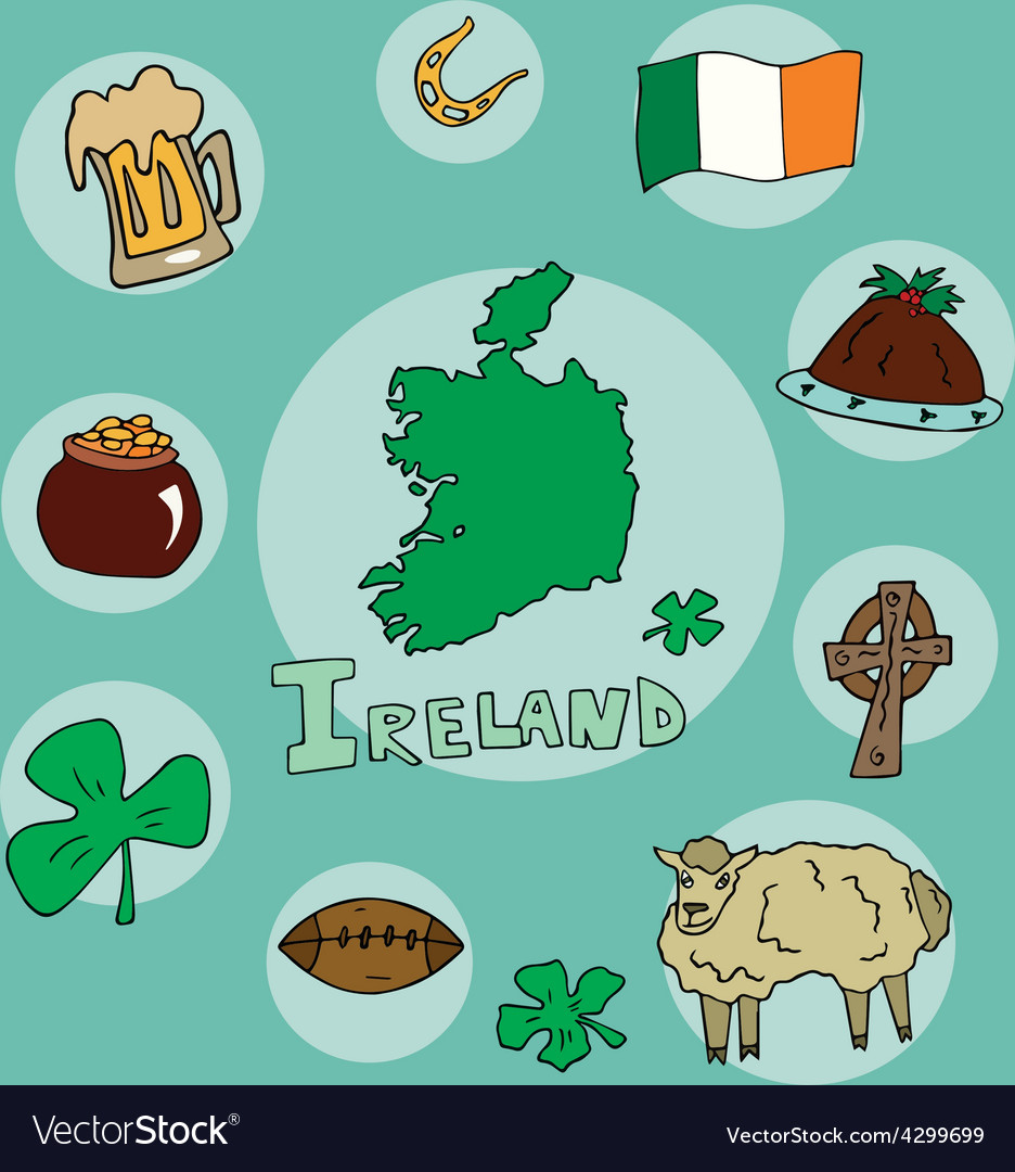 Set of national profile of the ireland vector   Price: 1 Credit (USD $1)