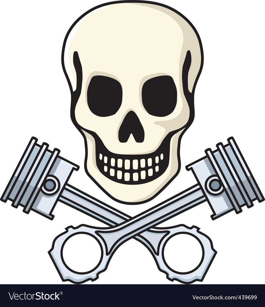 Skull and pistons vector | Price: 1 Credit (USD $1)