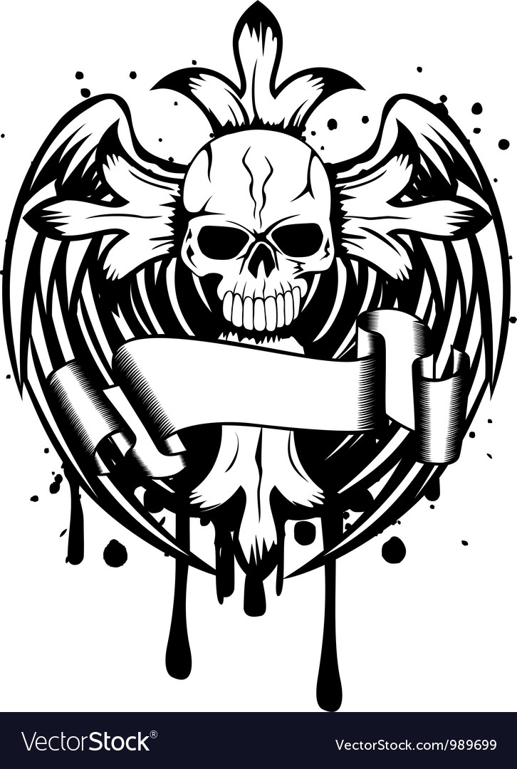 Skull with cross and wings vector | Price: 1 Credit (USD $1)