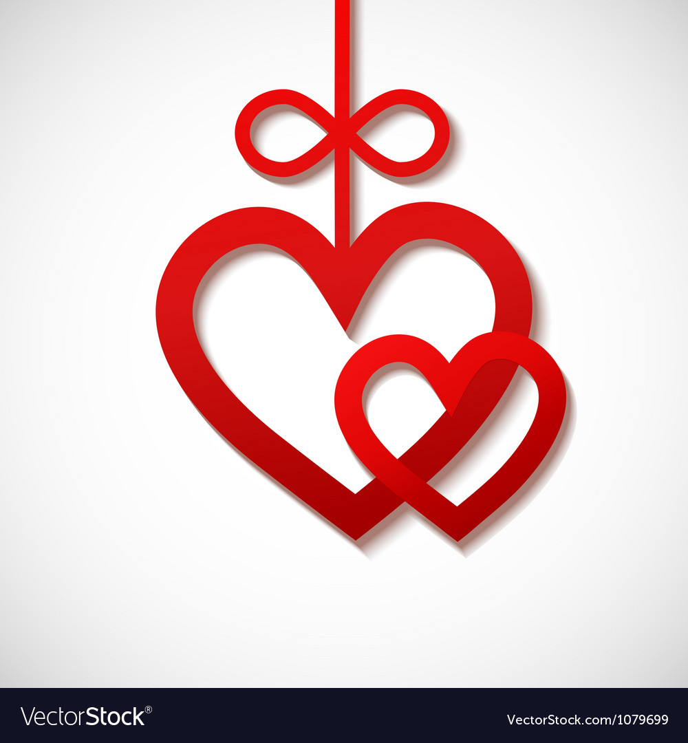 Two heart sliced from red paper vector | Price: 1 Credit (USD $1)
