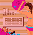 Sunbathing girl background vector