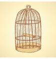 Sketch bird cage in vintage style vector