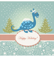 Snowy cute dragon for greeting card vector