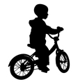 Boy and bicycle silhouette vector