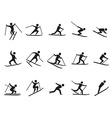 Black skiing stick figure icons set vector