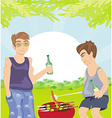 Two men barbecuing - funny barbecue party vector