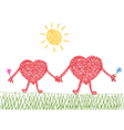 Valentine drawing of two hearts in love vector
