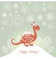 Snowy cute dragon for greeting card vector
