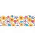 Colorful oriental flowers horizontal seamless vector