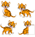 Cute tiger cartoon collection vector