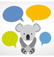 Funny koala with colored speech bubbles on white vector