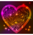 Valentine bright heart with floral ornament vector
