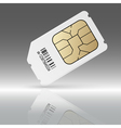 Phone sim card with reflection vector