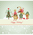 Cute funny birds for greeting card vector