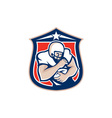 American football holding ball shield retro vector