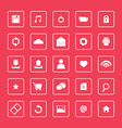 Red and white website icons set vector