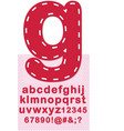 Stitched numbers and letters vector