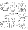 Funny cartoon cats silhouette for your design vector