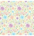 Pattern with flowers butterfly dragonfly vector