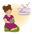 Young girl with a bouquet of flowers vector