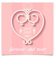 Pink valentine with heart of lines vector