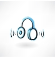 Headphones grunge icon vector