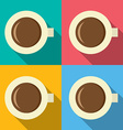 Top view of hot coffee mug on colorful background vector