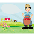Farmer with a basket of apples vector