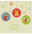 Retro christmas balls card vector