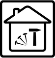 Icon with house nails and hammer vector