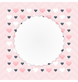 Greeting card with hearts over pink vector