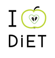 Green apple with heart shape i love diet card flat vector
