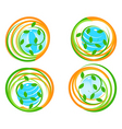 Green icons with flower vector