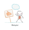 Relayter stands next to the sign - its good vector
