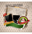 Christmas vintage scrapbook composition vector