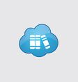 Blue cloud books icon vector