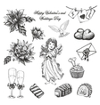 Set of hand drawn vintage valentines and vector