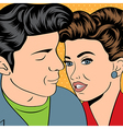 Man and woman love couple in pop art comic style vector