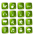 Icons collection on green buttons vector