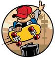 Skater boy doing a jump ollie vector