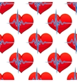 Red heart with a heart beat pulse vector