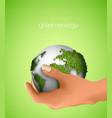 Green planet in hand vector